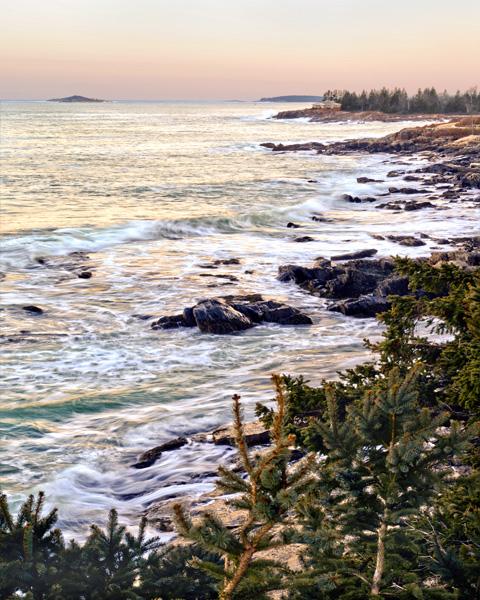 Sunset Maine Shoreline